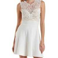 White Embroidered Lace Yoke Skater Dress by Charlotte Russe