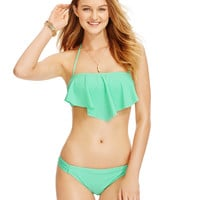Hula Honey Solid Flounce Bikini Top & Side-Tab Hipster Bikini Bottom, Only at Macy's
