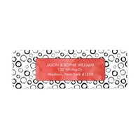 Black and White Circles with Red Watercolor Label