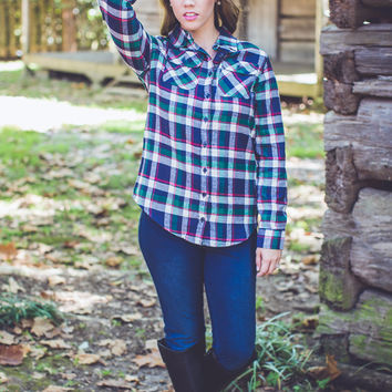 Festival Ready Flannel in Navy and Green