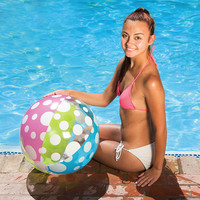 """24"""" Blue, Green, Pink and White 6-Panel Inflatable Beach Ball Swimming Pool Toy"""