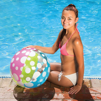 "24"" Blue, Green, Pink and White 6-Panel Inflatable Beach Ball Swimming Pool Toy"