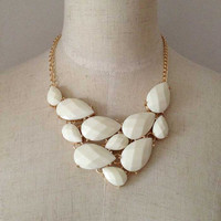 White Stone Statement Necklace, Bib Necklace, Beadwork Necklace with White Drop Epoxy Stones