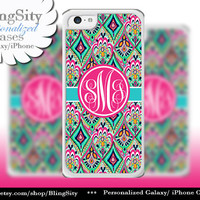 Monogram Mint Aztec iPhone 5C 6 Case 6 Plus iPhone 5s 4 case Ipod 4 5 Touch Cover Aqua Pink Personalized
