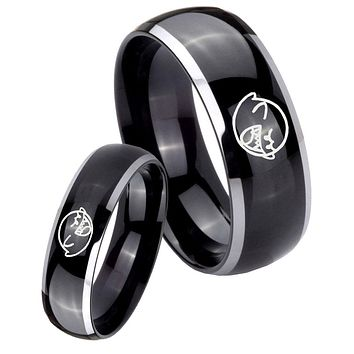 His Hers Gossy Black Dome Mario Boo Ghost 2 Tone Tungsten Wedding Rings Set