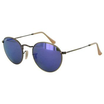 Gotopfashion Ray Ban Womens RB3447 Round Metal Frame Sunglasses, Bronze-Copper/Violet Mirror