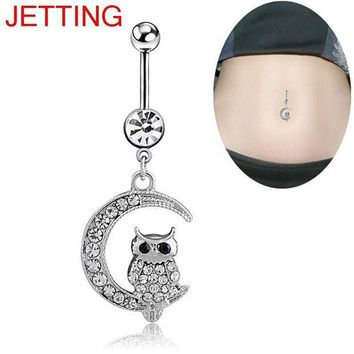 ac PEAPO2Q 1Pc Belly Button Ring Piercing Jewelry White Moon Owl Pendant Navel Piercing For Women