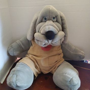 "vintage 1981 ganz bros wrinkles puppy dog plush hand puppet gray 30"" tall"