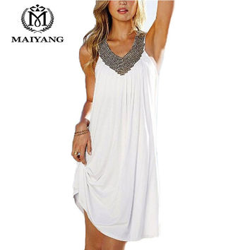 Beach Swimsuit Cover Up Bathing Suit Swim Ups Summer Dress Coverup V-Neck Hot Drilling Wrinkle Long Kaftan Beach Towel LYQ-2015