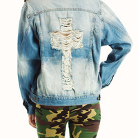 distressed-cross-denim-jacket BLUE - GoJane.com