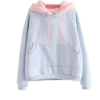 Japanese Korean students to increase loose velvet College solid wind thicker wild hooded Sweatshirts women