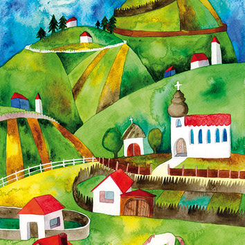 Fabled Village Watercolor Illustration Print Children Decoration Nature Houses Landscape Green Brown Multicolored Horse