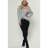 It's Not Over Open Knit Sweater (Grey)