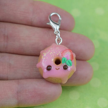 Kawaii Strawberry Donut Charm | Cute Polymer Clay Jewelry Accessory | Handmade Gift | Miniature Sweet Food