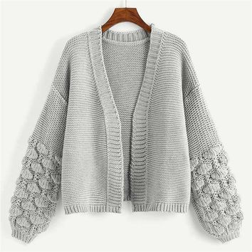 Grey Preppy Campus Crochet Bishop Sleeve Marled Solid Cardigan Sweater