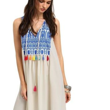 SheIn Multicolor Sleeveless Print Tassel Shift Short Dresses New Fashion Womens Summer Casual V Neck Fringe Loose Dress