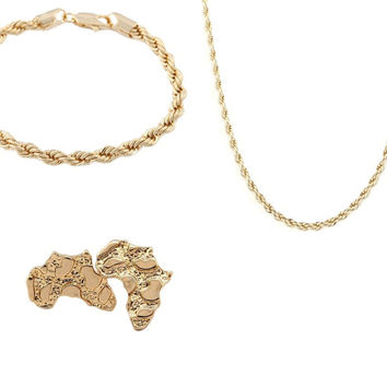 Goldtone Set 6mm 24 Inch Rope Chain Necklace with a Matching 8 Inch Bracelet and African Nugget Stud Earrings