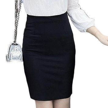 Spring 5XL Plus Size Slim Sexy Formal Office Skirt Faldas Women Elastic High Waist Black Red Step Pencil Skirt Saias Skirts 2017