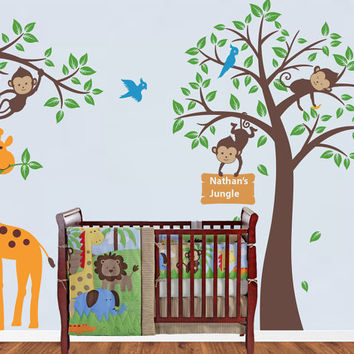 Monkey Tree decal, Children Jungle Room Decal, Safari theme - Nursery Wall Vinyl