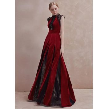 Black Lace And Burgundy velvet Sleeveless Floor Length Draped Maxi Dress