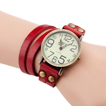 Wrap Vintage Bracelet & Watch (Red) For Women On Full Time Sale