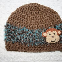 Blue Monkey Hat 0-3 mo 3-6 mo 6-12 Months Toddler Baby Shower Gift, Infant, Perfect Photo Prop