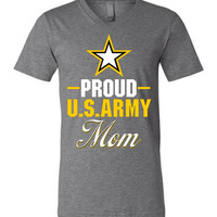 Proud US Army Mom Canvas Unisex V-Neck T-Shirt