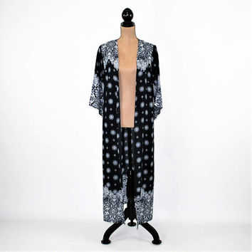Block Print Robe Cover Up Maxi Duster Jacket Long Cardigan Navy Blue and White Bohemian Kimono Hippie Clothes Rayon Womens Clothing