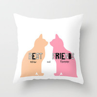 MEOW and forever. Throw Pillow by danielle marie | Society6