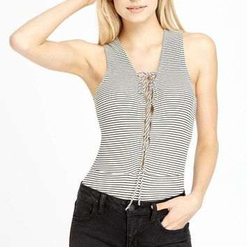 All At Once Lace Up Bodysuit