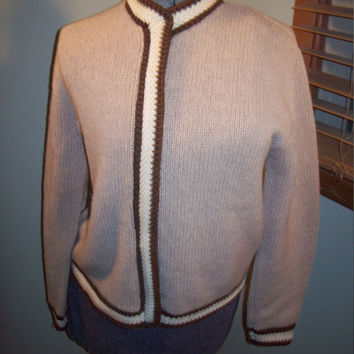 Vtg 60s Rosanna Tan White Brown Zip Up Knit Shetland Wool Sweater / Holiday Sweater / Mod Rockabilly Scooter Girl