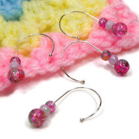 Snag Free Stitch Markers Set, Crochet, Removable, Beaded, DIY Crafts, Pink Confetti, Gift for Crochet, TJBdesigns