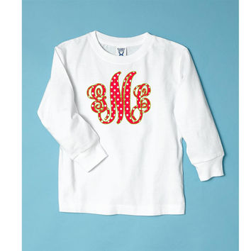 Red/Green Dots Monogram on Long Sleeve White T-Shirt