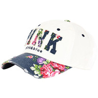 Raon B82 Sexy Women Girl Flower PINK Cute Lady Design Ball Cap Baseball Hat Truckers (White-Navy)