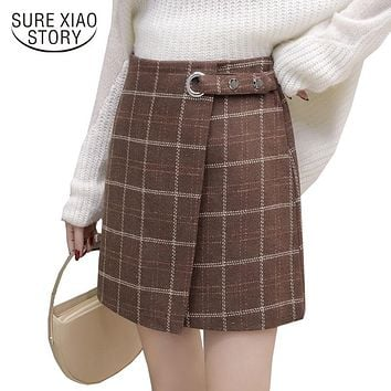 2017 new Korean style winter casual a-line package hips hair plaid women skirt vintage fashion lace-up high waist skirt 87J 30
