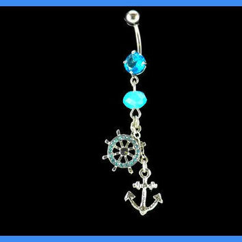Anchor and Wheel  Belly Ring wiht  Blue Bead Accent