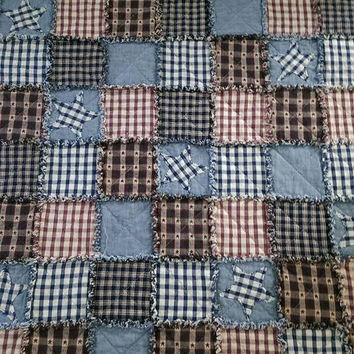 Baby boy homespun rag quilt - red navy beige plaid rag quilt - baby boy blanket - crib quilt - country primitive baby blanket
