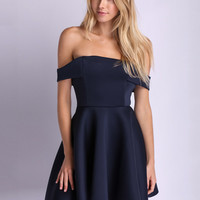 Blue Off-Shoulder Sheath Mini Skater Dress