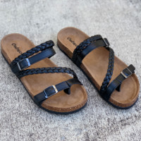 Braided Strap Black Footbed Sandals