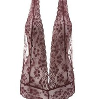 Oxblood Deep V Lace Halter Teddy by Charlotte Russe