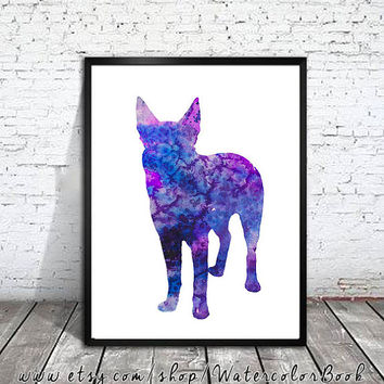 Australian Kelpie Watercolor Print ,Australian Kelpie Art, Home Decor, dog watercolor, watercolor painting ,animal watercolor,dog art