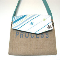 Eco Friendly. Messenger Bag. Upcycled. Burlap. Beach. Teal. Tshirt. Holiday Gift. For Her. Teen. Tween. Free U.S. Shipping.