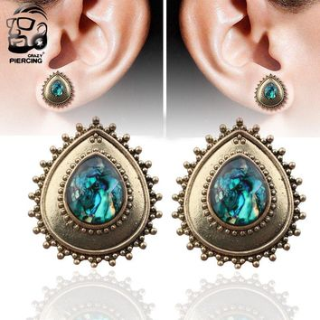 2PCS Brass Blue Stone
