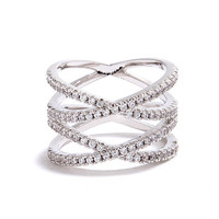 Double Helix Silver Rhinestone Ring