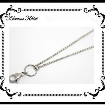 "32"" Inch Stainless Steel Silver Rolo Chain Necklace with Clasp Hook for Floating Memory Glass Charm Lockets"