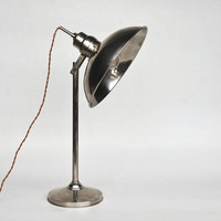 Large Mid Century Industrial Desk Lamp /  Heat Lamp / Vintage  Floor Light /  Metallic Chrome