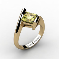 Modern 14K Yellow Gold 2.0 Ct Princess Square Yellow Topaz Kite Setting Engagement Ring R1031-14KYGYT