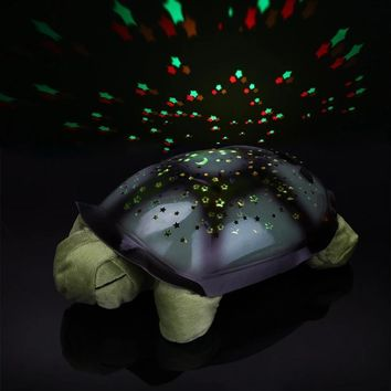 USB Powered Sleeping Turtle Nursery Night Light Star Projector With Baby Music