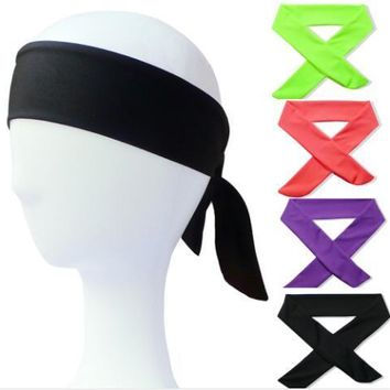 1pcs Cotton Tie Back Headbands Stretch Sports Sweatbands Hair Band Moisture Wicking Workout Bandanas Running Men Women Bands