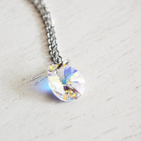 Bridesmaid Necklace, Teardrop Pendant, Clear Crystal, Swarovski Necklace, April Birthstone, Friend Necklace, Silver Necklace, AB Crystal